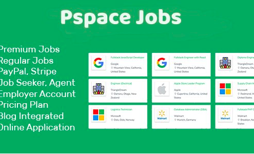 Pspace Job - Job PortalScript is a professional job board that helps the employer, agent and job seeker to find their talents, dream jobs within a short time with its advanced jobsearch engine. It comes with modern design and clean code to help you extend it further. Pspace Job portal scriptis an easily translatable, so you can translate it to any language.